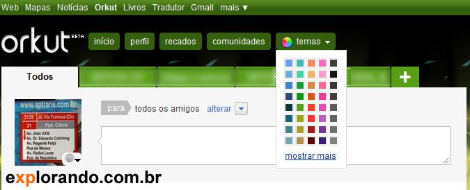 trocar cor do orkut