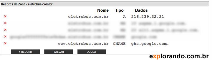 cname e ip no registro.br para o blogger.com