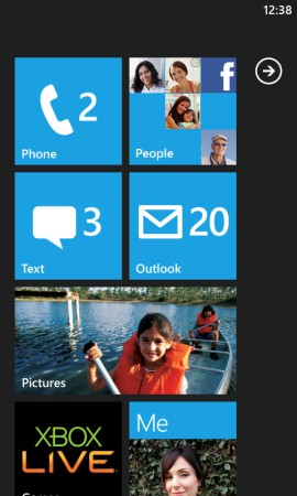 Tela do Windows Phone
