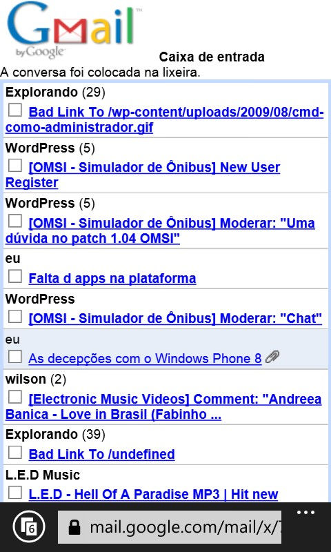 gmail no internet explorer do windows phone