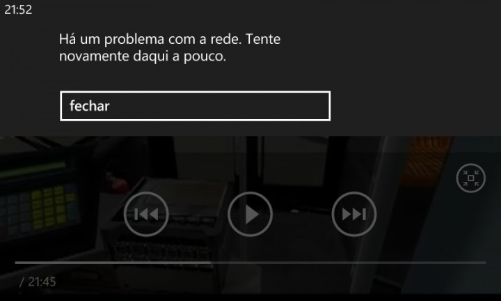 windows phone erro de rede reproduzir videos