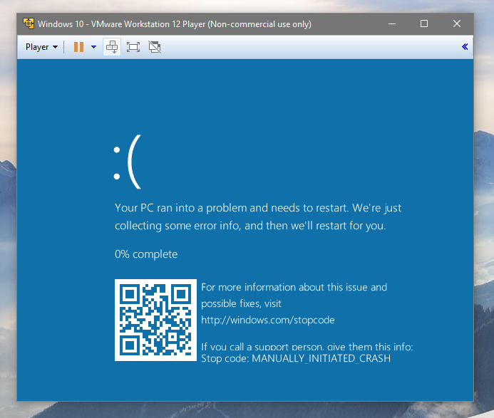 tela azul windows 10 qr code 2