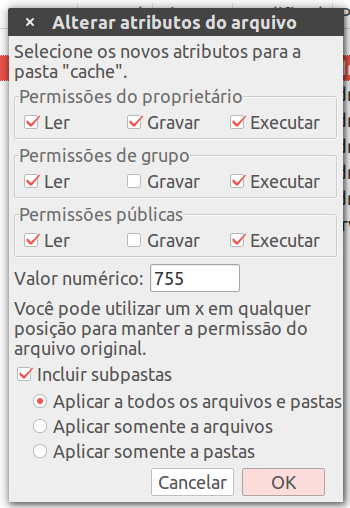 salvar permissoes de pasta no filezilla