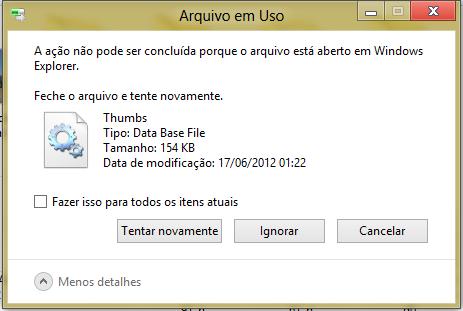 arquivo em uso no windows não pode ser apagado