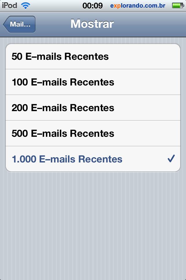 cliente mail ios ativar 1000 emails recentes