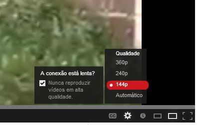 Vídeo no YouTube em 144p