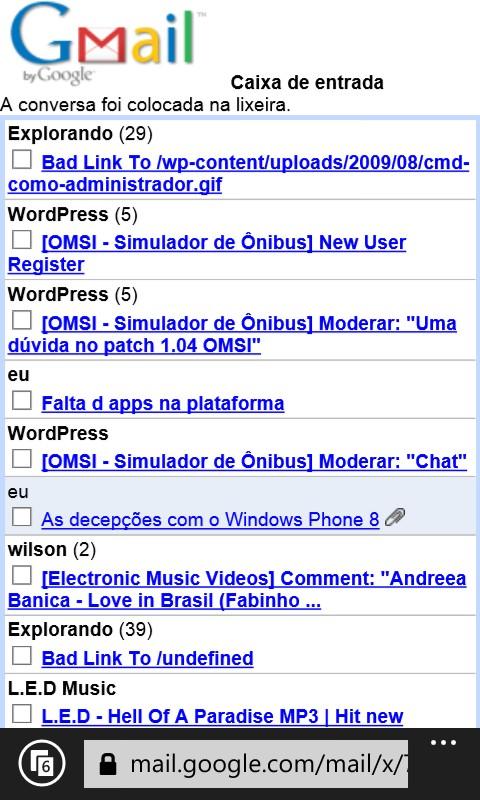 gmail no internet explorer do windows phone