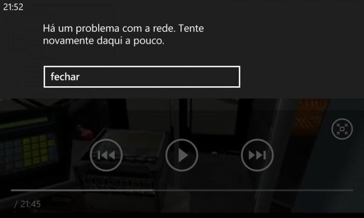 windows phone erro de rede reproduzir videos